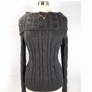 Daisy Fuentes Sweater Cotton Cowl Neck Cable Knit
